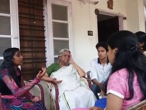 Sugathakumari teacher enjoying Nisha Nath's Kavitha.