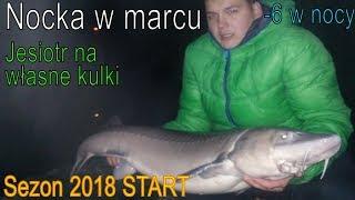 """""""PREHISTORYCZNY"""" JESIOTR NA WŁASNE KULKI I nocka w mrozie I WĘDKARSTWO 2018"""