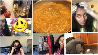 Vlog/I tried hair coloring for the first time 😃/my birthday saree/vegetable kurma 😋/got a surprise