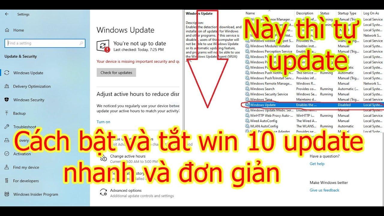 cách bật và tắt win 10 tự động update chỉ bằng cú nhấp chuột