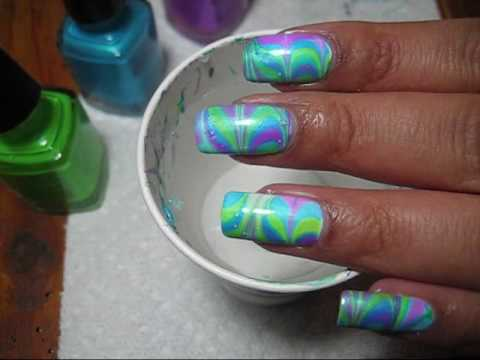 Neon Twist Water Marble Nail Art Tutorial Youtube