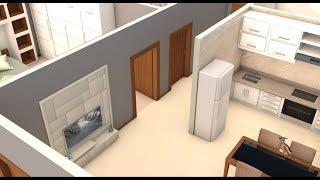 Planta 3D de Casa simples com dois quartos medindo 48,10 m²