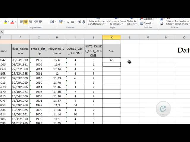 26 MS Excel : La Fonction  DateDif()