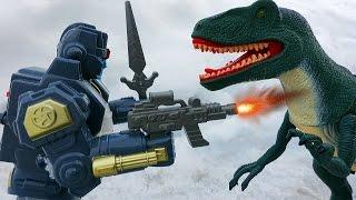 ДИНОЗАВРЫ против Космического Робота. Бой Тираннозавра Рекса и Робота Мультик для детей Игрушки ТВ