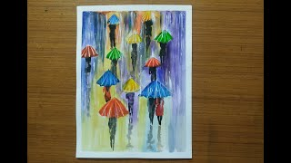 Watercolor Painting | People walking with umbrella on a rainy evening