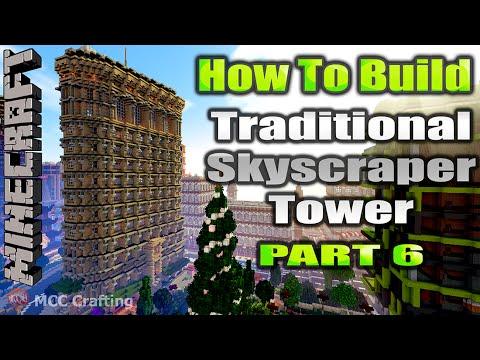 Minecraft How To Build Traditional Skyscraper Tower Flatiron Building Inspired Part 6