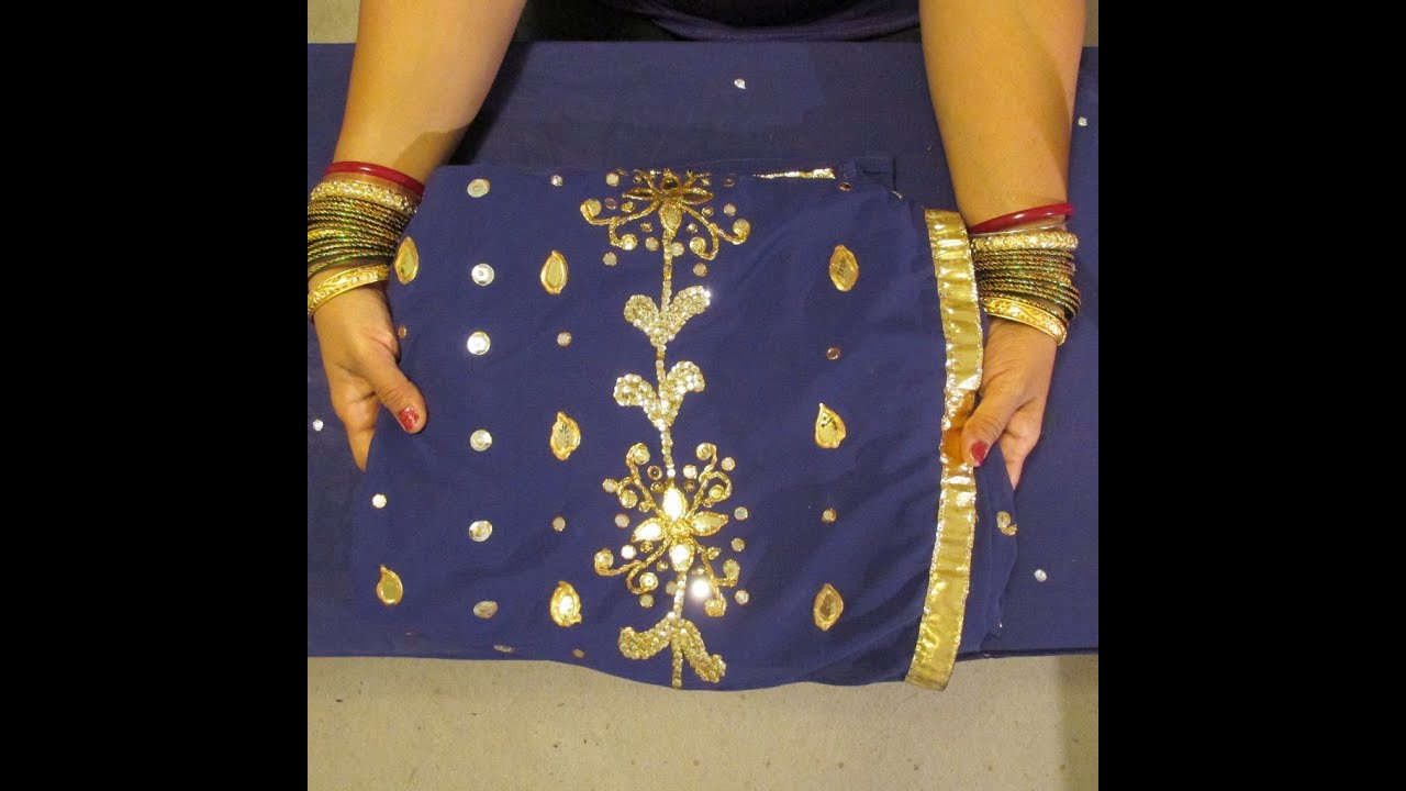 Diy: No Sew Zordosi Saree Creations With Sequins, Golden Leaf, Beads And  Trim  Youtube