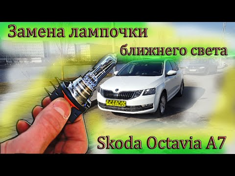 Замена лампы ближнего света на Skoda Octavia A7