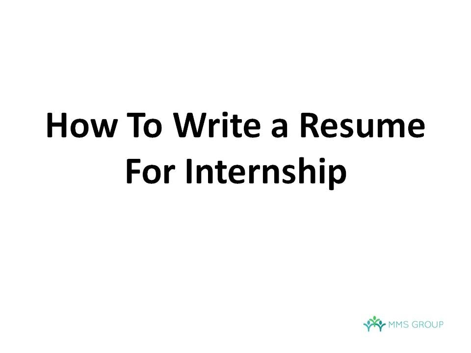 How To Write A Resume For Internship   YouTube