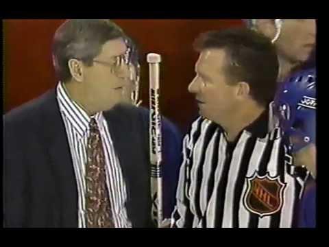 New York Islanders at Chicago Blackhawks, December 10, 1992 Ray Ferraro breaks leg