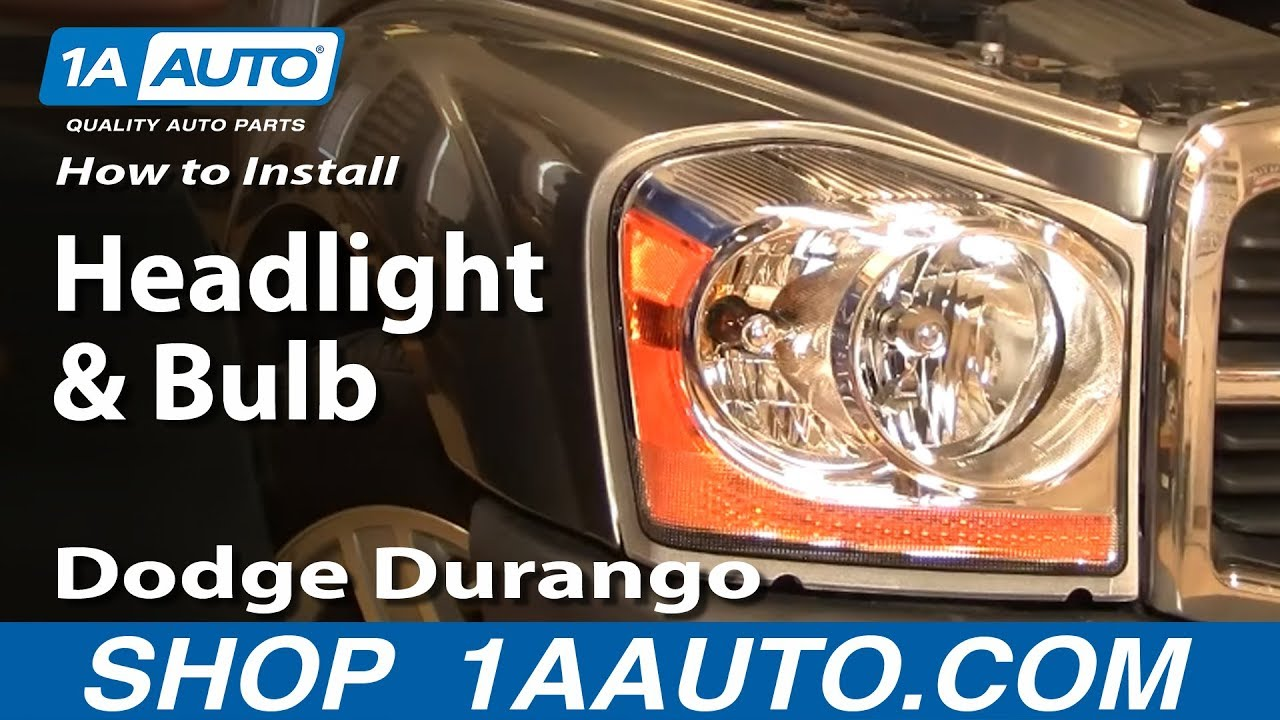 How To Install Replace Headlight And Bulb Dodge Durango 04