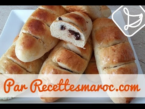 Petits Pains au Chocolat - Moist Chocolate Stuffed Milk Rolls - خبز بالشوكولا