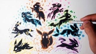 Eevee Evolution Drawing - Tattoo Style ( Shin Art)