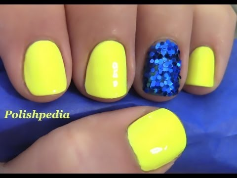 Neon Yellow Nails With A Glitter Accent Nail - YouTube