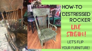 Paint Challenge| Day 1 | Chalky Paint, Distress, Seal A Rocking Chair | Junk Monkey Paint