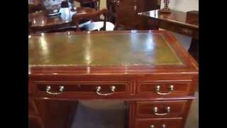 Edwardian Mahogany Inlaid Pedestal Desk By Maple & Co