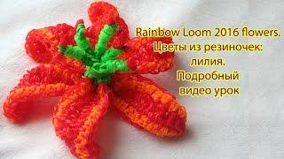 Rainbow Loom 2016 flowers. Цветы из резиночек: лилия. Подробный видео урок