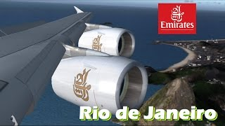 [FSX] Emirates Airbus A380-800 Sunset Approach and Landing at Rio de Janeiro