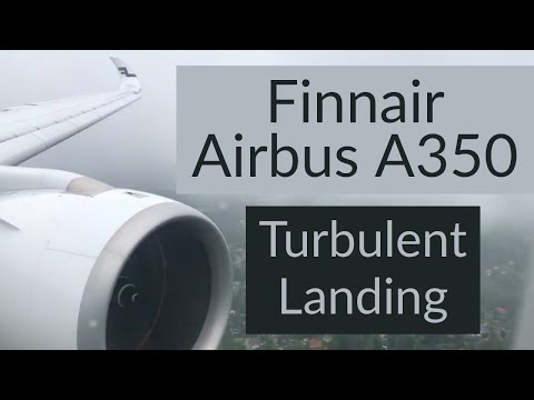 Turbulence! Wing Flex! Finnair Airbus A350 Turbulent Landing at Helsinki in Stormy Weather.