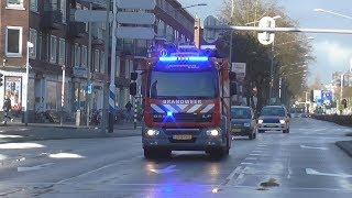 Tankautospuit & Autoladder brandweer Mijnsherenlaan onderweg naar verschillende meldingen.