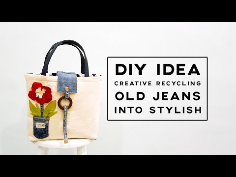 DIY Idea Recycling Old Jeans | How to make tote bag | Creative idea Sharing With You❤❤