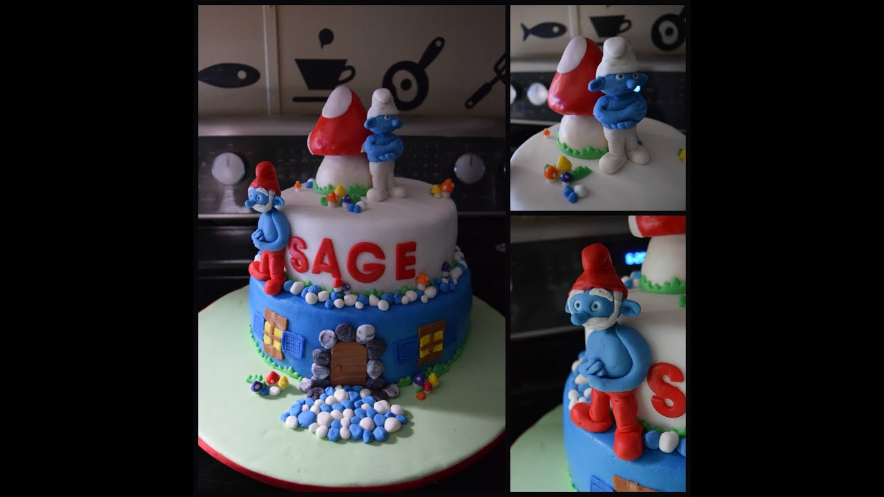 Smurf Cake Pastel De Pitufos Youtube