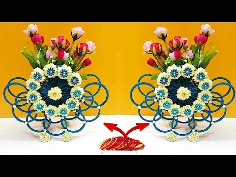Home Decor DIY - New Design Flower Vase from wool & old Bangles Woolen Craft Idea - Best reuse ideas