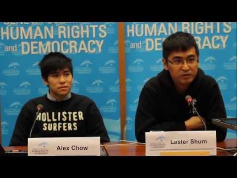 Hong Kong Protest Leaders Alex Chow & Lester Shum at Geneva Summit 2015