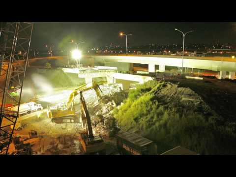 Old Gateway Motorway Overpass bridge demolition - Airport Roundabout Upgrade project
