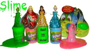 slime mars mud flarp silly putty noise putty playing with disney princess dolls toys