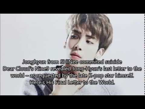 SHINee Jonghyun's Final Letter to the World (Full Text) released by Dear Cloud's Nine9
