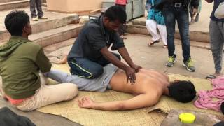 Complete Street Indian Body massage at Banks of the Ganges(Different Angle) Part-2| 4K