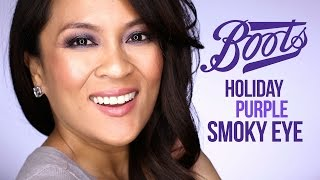 purple smoky holiday makeup tutorial with boots no7