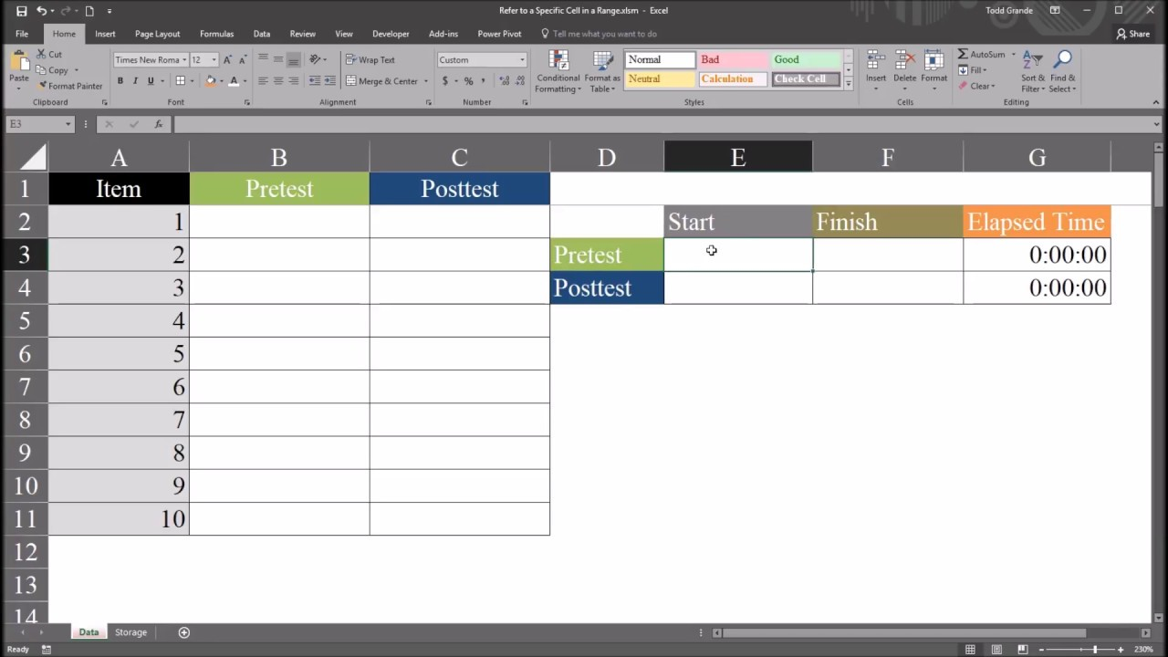 Recording the Time to Complete a Task using Excel VBA