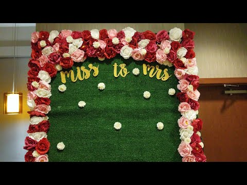 DIY: HOW TO MAKE A FLOWER GRASS WALL FOR CHEAP! | GLAM BRIDAL SHOWER AND EVENT BACKDROP ON A BUDGET|