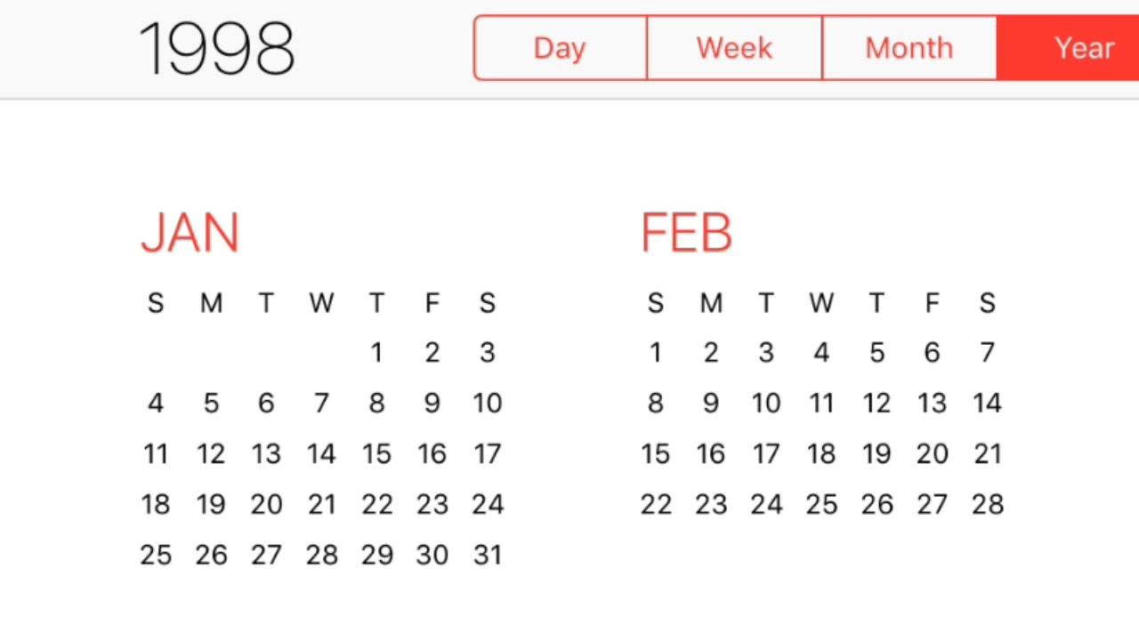 1998 Calendar Youtube