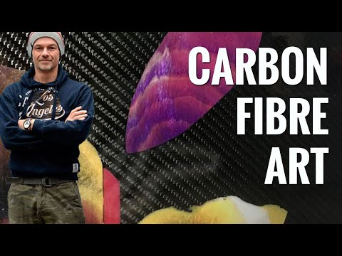 Carbon fibre art created with casting resin and pigments