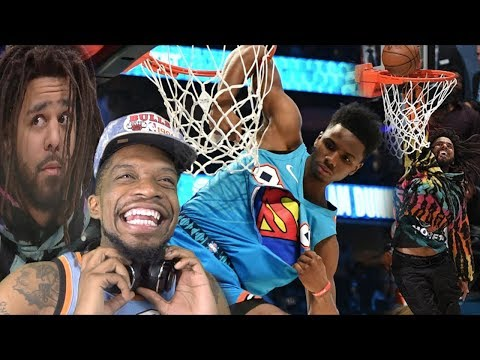 J COLE GETS BOUNCY!!  NBA DUNK CONTEST HIGHLIGHTS!