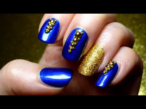 Luxury Royal Blue & Gold nail♥art - YouTube
