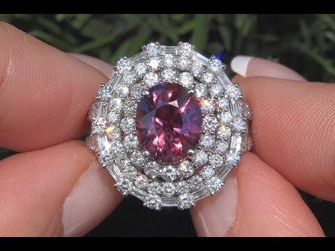 GIA Certified Reddish Purple UNHEATED Sapphire & Diamond Engagement Ring 18k Gold 6.41 TCW - C1038
