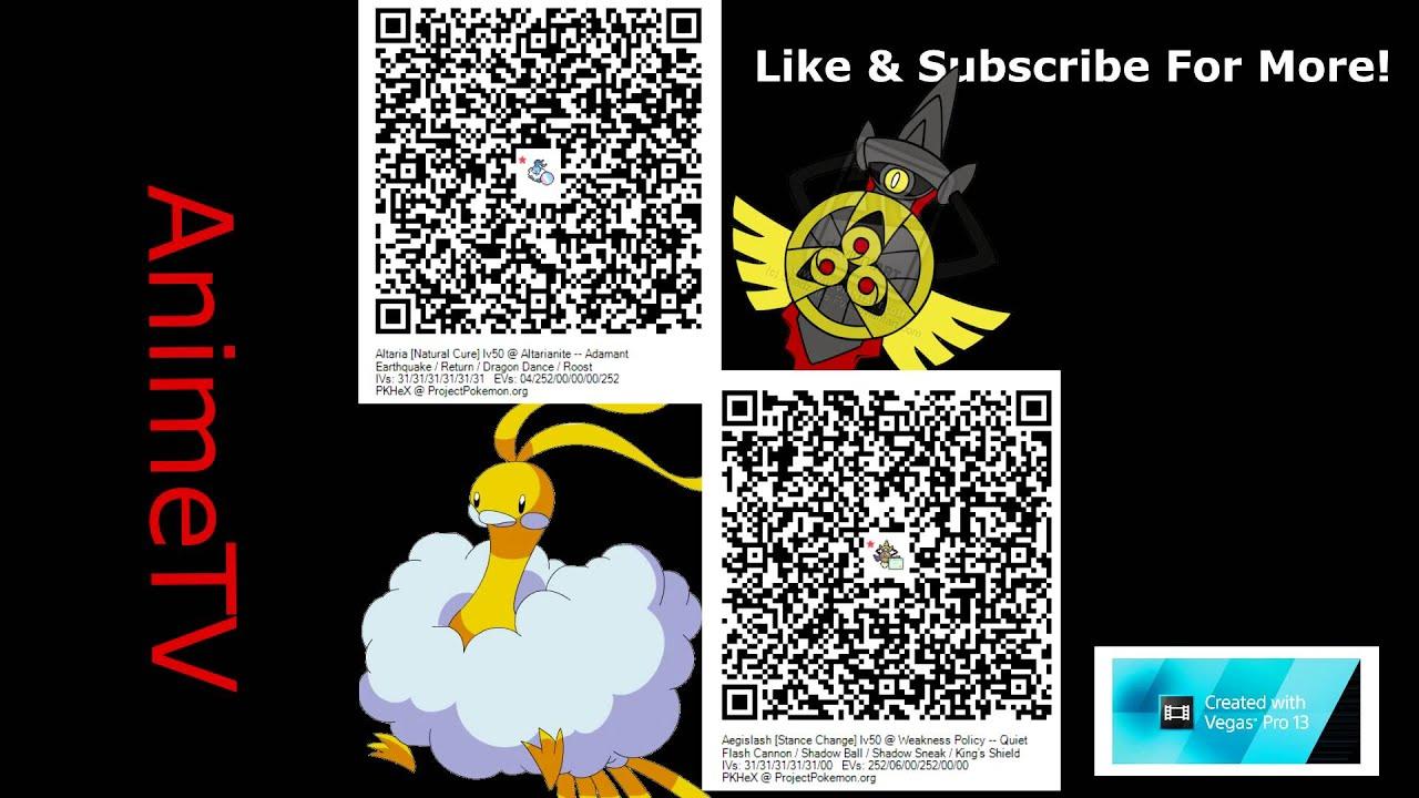 QR code: Shiny Altaria W/ Mega Stone & Shiny Special Aegislash | Pokemon X  Y / ORAS