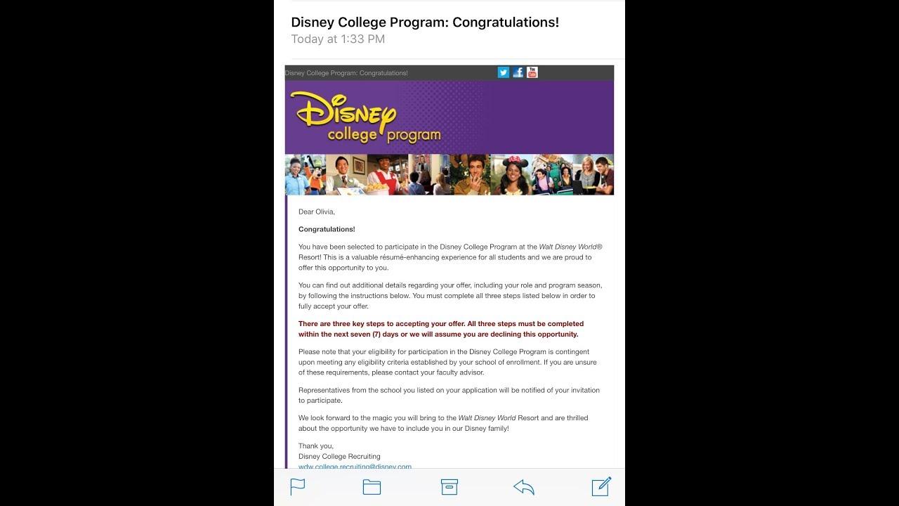 Disney College Program Spring 2018 Acceptance