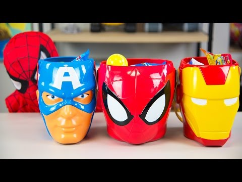 HUGE Spiderman Surprise Toys Bucket Captain America Iron Man Surprise Eggs Boy Toys Kinder Playtime
