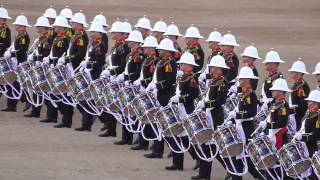 The Massed Bands of HM Royal Marines beating retreat 2014