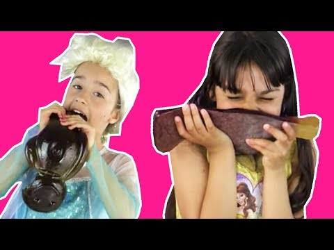 GIANT Gummy Candy Surprise Egg Disney Princesses In Real Life Frozen Elsa and Belle Magic Chocolate