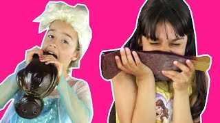 GIANT GUMMY CANDY CHALLENGE | ELSA VS BELLE | Magic Chocolate | Princesses In Real Life | Kiddyzuzaa