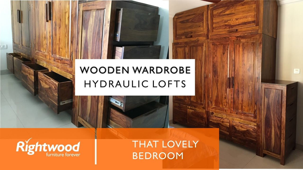 Wooden Lofts Hydraulic Lofts  Wooden Wardrobe Almirah With Drawers At The