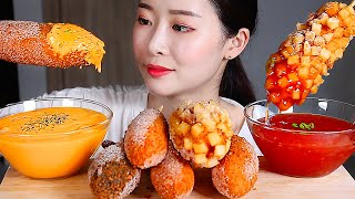 CHEESY CORN DOG with Extra Cheddar Cheese Sauce and Sweet Chili Sauce ASMR Mukbang Eating Show