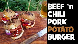 Beef 'n Pork Chili Potato Burger