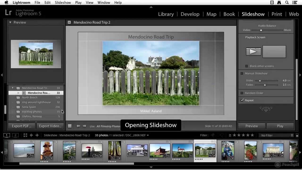 Creating a slideshow in Adobe Lightroom 5